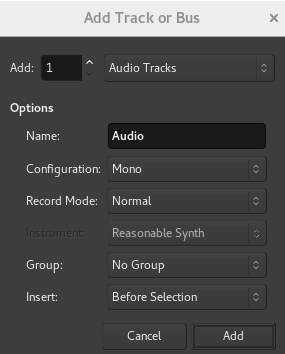 Ardour Add Audio-Spur